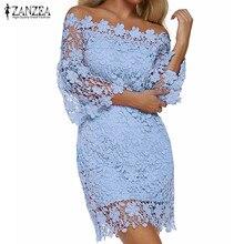 ZANZEA 2019 Women Mini Dress Summer Sexy Patchwork Lace Solid Off Shoulder Slash