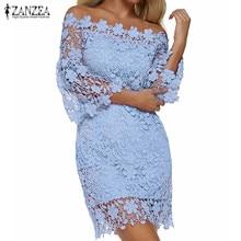 ZANZEA 2020 Women Mini Dress Summer Sexy Patchwork Lace Solid Off Shoulder Slash Neck Flare Sleeve Party Dresses Elegant Vestido