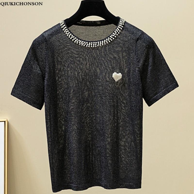 Love Beading Korean Style Women Summer T Shirt 2019 Casual O-Neck Ice Silk Short Sleeve Crop Top Women Knitted Tee Shirt Femme