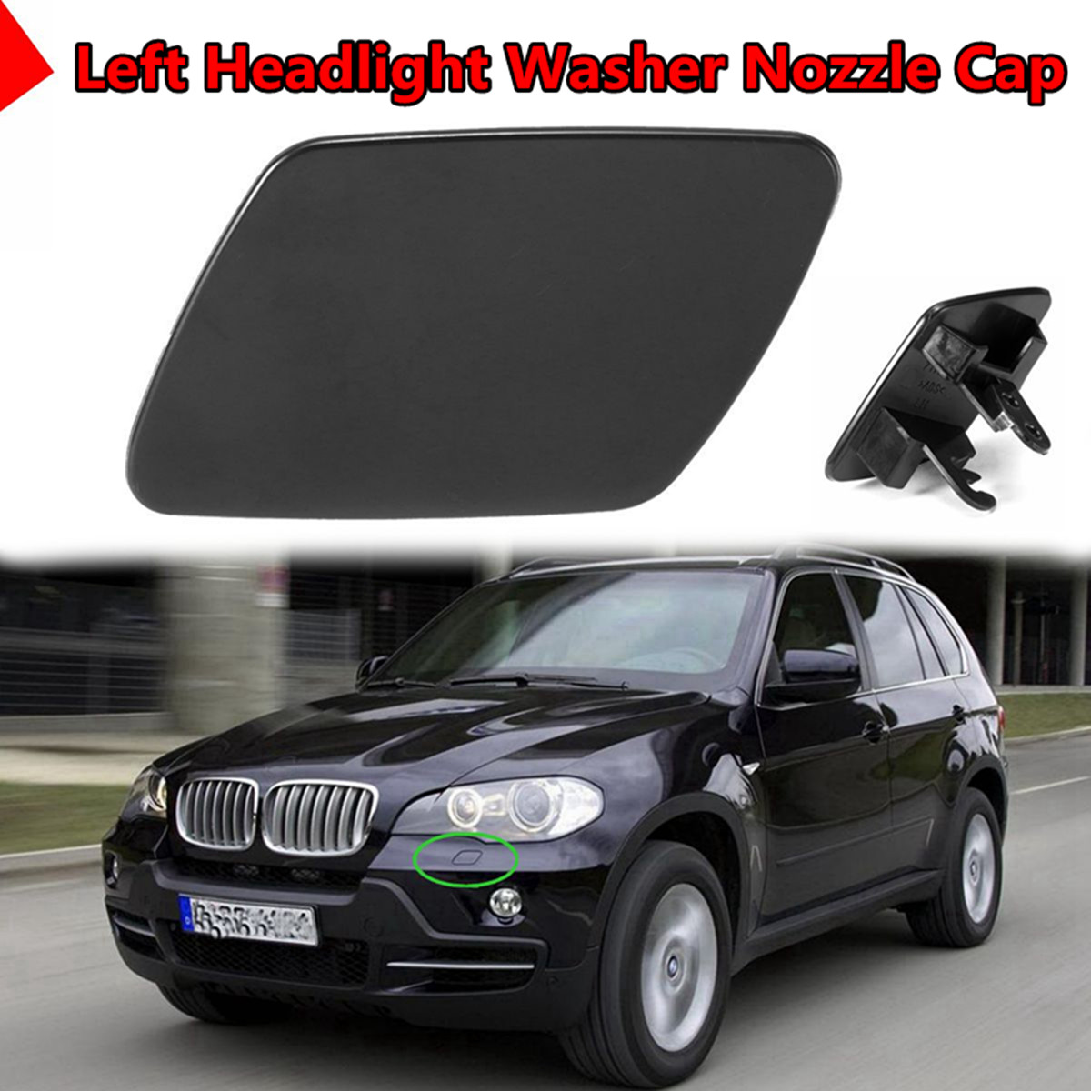 Front Headlight Washer Nozzle Cover Cap Assemly For 2007-2008 X5 3.0si 6Cyl 3.0L
