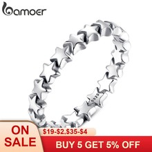 BAMOER Star Trail Stackable Finger Ring For Women Wedding 100% 925 Sterling Silver Jewelry 2018 HOT SELL PA7151(China)