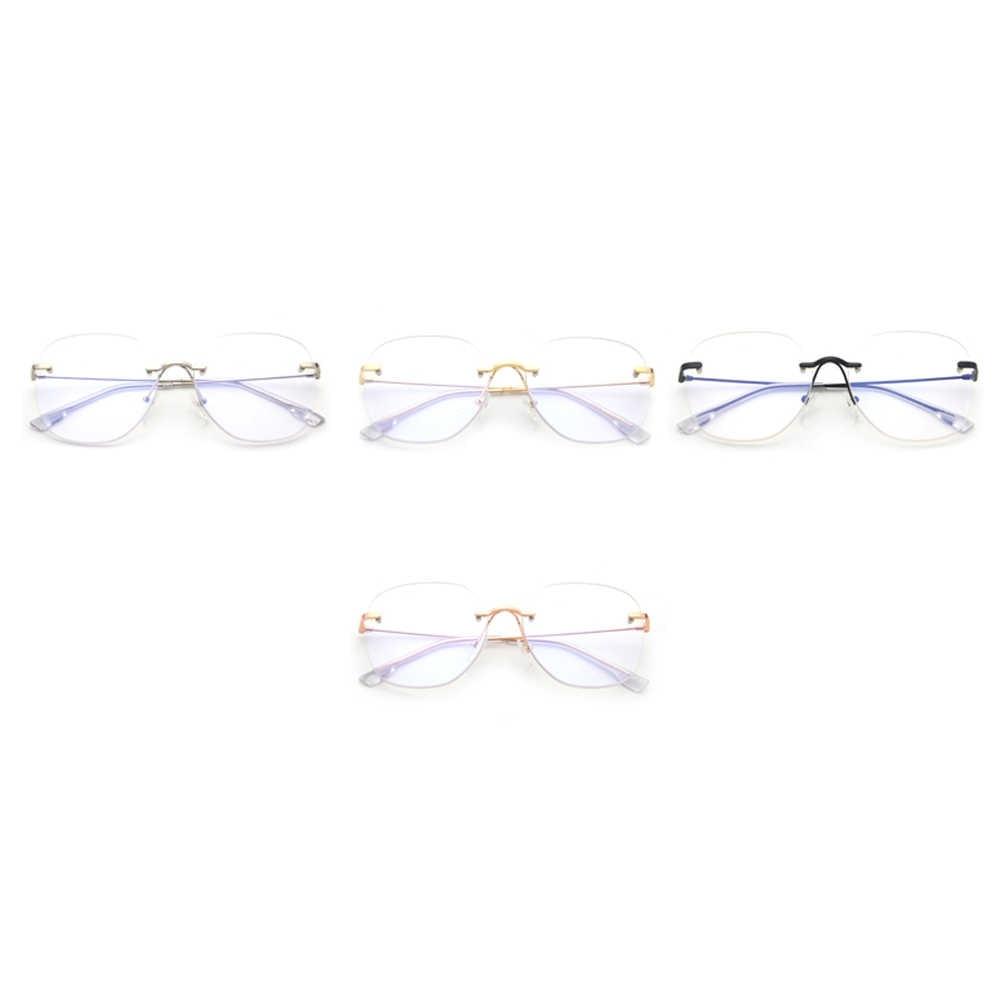 cd0c1a370369 ... Kachawoo Clear Lens Rimless Glasses Frame Men Big Size Metal Optical Eyewear  Frames Women Gold Silver