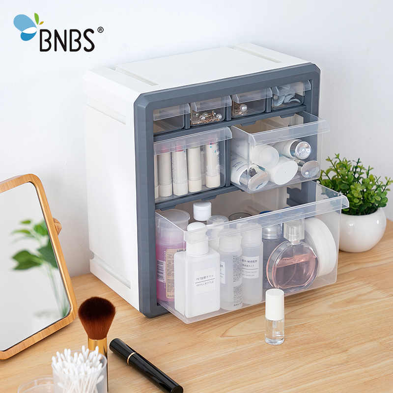 BNBS Plastic Storage Box Cosmetic Organizer Desktop Multi-layer Drawer Case Tools Bead Rings Jewelry Makeup Organizer