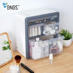 Image 1 - BNBS Kunststoff Lagerung Box Kosmetik Organizer Desktop Multi schicht Schublade Fall Werkzeuge Perle Ringe Schmuck Make Up Veranstalter
