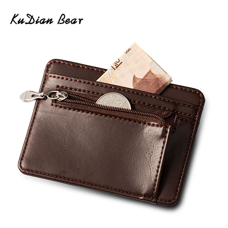 KUDIAN BEAR Leather Mini Wallet Zipper Brand Designer Slim Wallet Men Card Holder Korean Bilfold Clamps For Money BIH106 PM49
