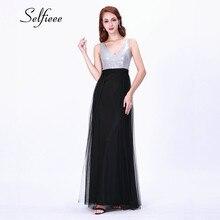 New Fashion Summe Beach Dress 2019 Robe Femme Elegant A Line V Neck Sleeveless Black Dress For Party Evening Long Tulle Dresses