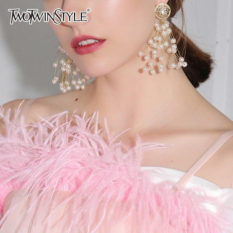 TWOTWINSTYLE 2020 Korean Fashion Flower Long Earmuffs For Women Accessories For Women Elegant Tide New