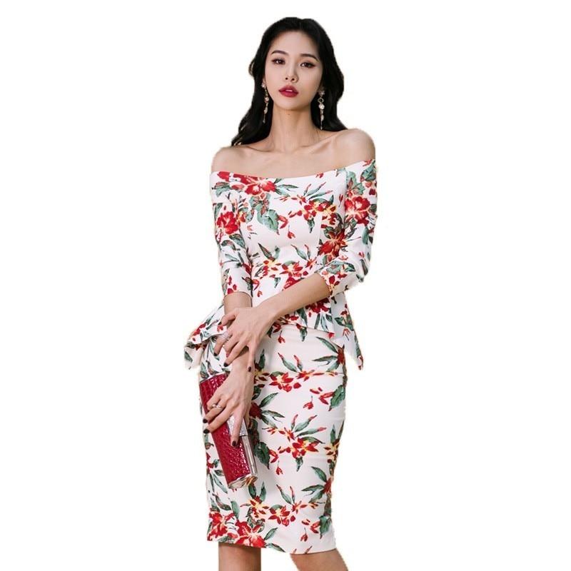 f1ccbdaf10 Floral sukienka kobiety Sexy drukarnie Bodycon sukienka 2019 Vintage Style  Off ramię 3 4 rękaw