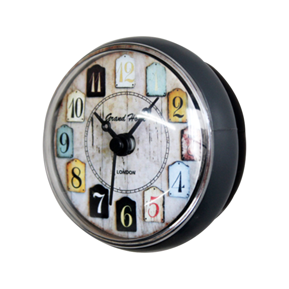 1 PC Suction Cup Retro Round Hanging Clock Bedroom Office Home Bathroom Kitchen Decoration