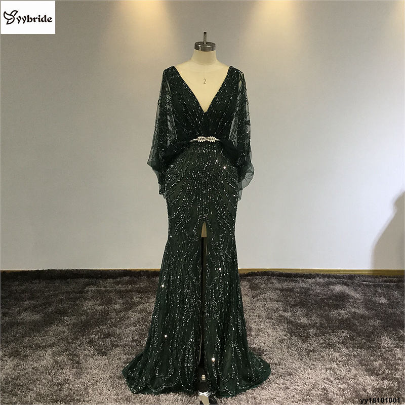 Surmount yybride Customized V-neck Mermaid Prom   Dress   Dark Green Batwing Sleeve Back V-neck Intermediate Split   Evening     Dresses