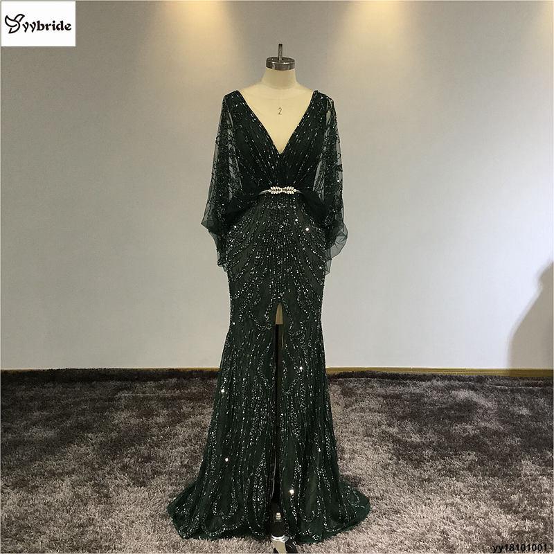 Surmount yybride Customized V neck Mermaid Prom Dress Dark Green Batwing Sleeve Back V neck Intermediate Split Evening Dresses