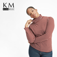 Kissmilk Plus Size Simple casual basic style bottoming contrast pinstripe high collar T-shirt plus open shoulder split back pinstripe shirt