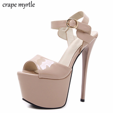 Купить с кэшбэком nude platform sandals extrem high heels shoes women heels ankle strap heels sandals women wedding shoes office sandals  YMA244