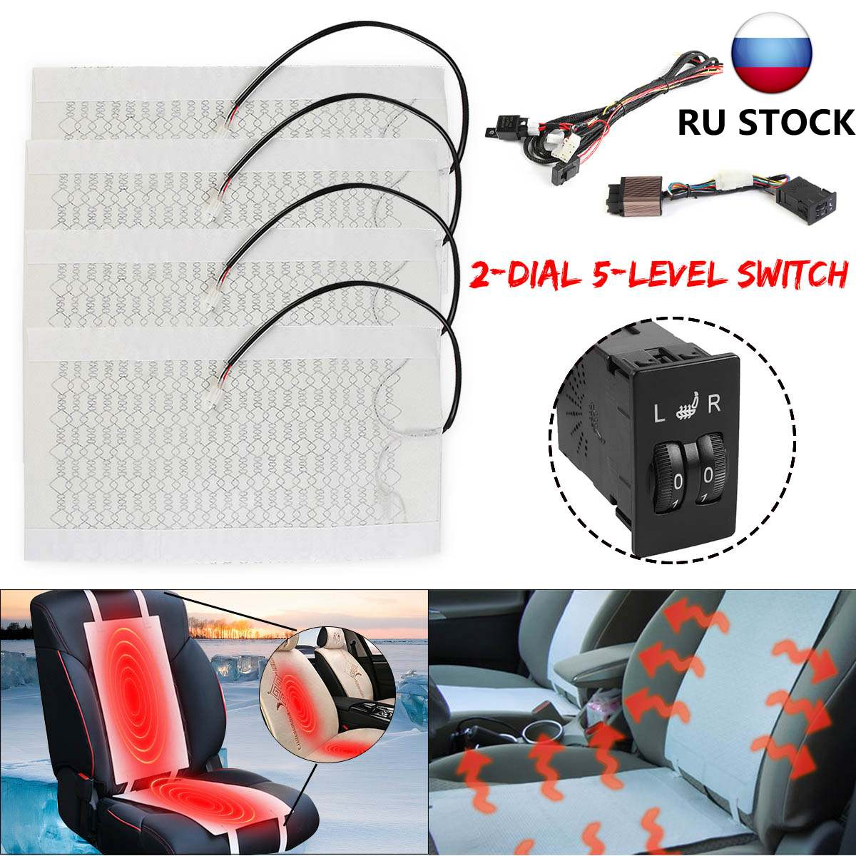4 Pads Car Seat Heater Kits Heating Heated Cushion Warmer Carbon Fiber Universal