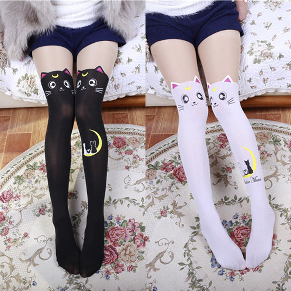 1Pair Fashion <font><b>Sexy</b></font> <font><b>Cat</b></font> Stockings Warm Thigh High Stockings Over Knee Socks Long Stockings For <font><b>Girls</b></font> Ladies Women 2 Solid Colors image