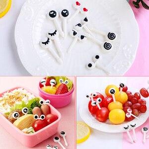 Food Grade Eye Fruit Fork Bento Accessories Decorative Kids 10PCS/Set Plastic Reusable Toothpicks Lunch Box Fruit Fork Mini