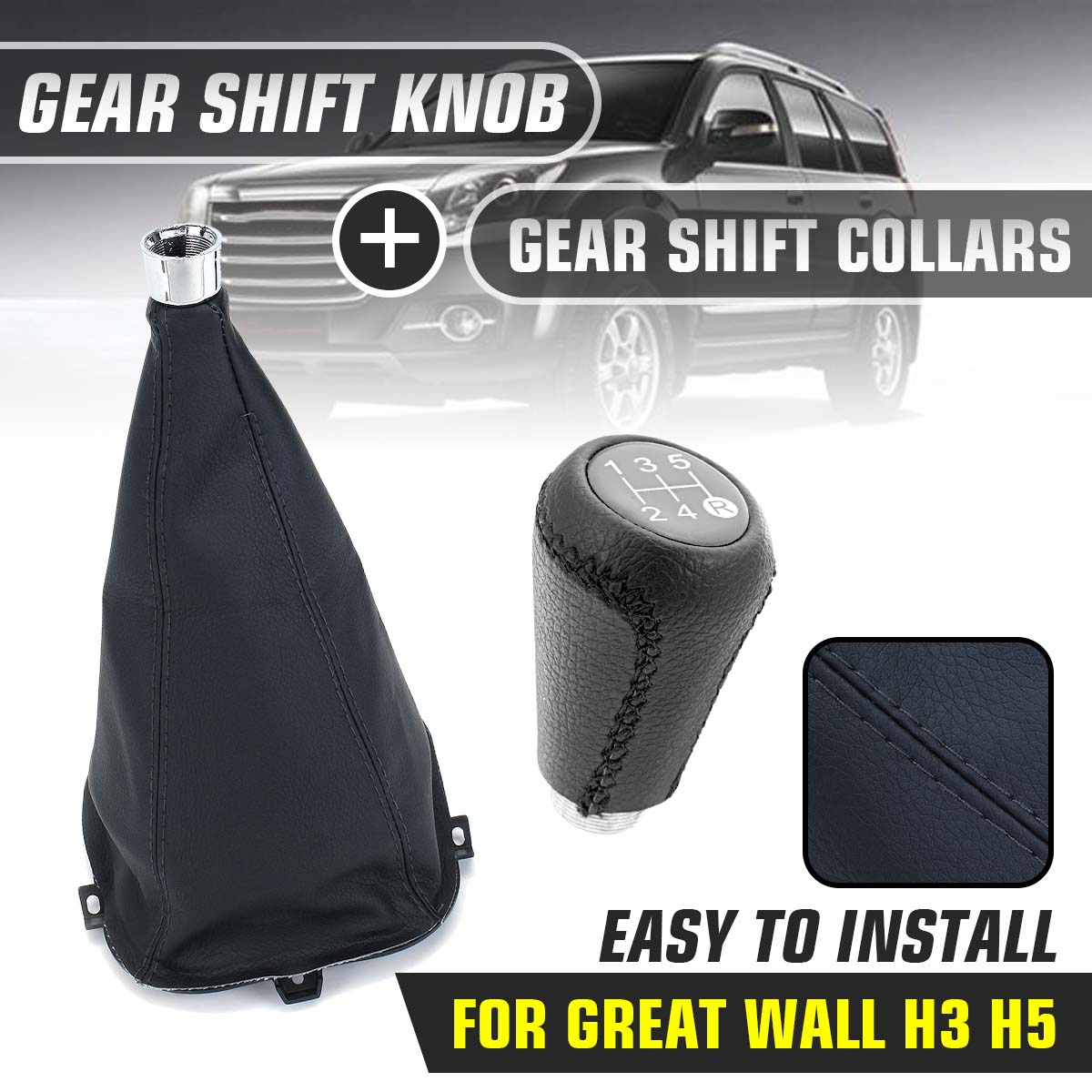 Gear Shift Collars Gear Shift Lever Dust Cover Anti-dust 5 Speed Gear Shift Knob For Great Wall Hover H3 H5 2010 2011 2012 2013