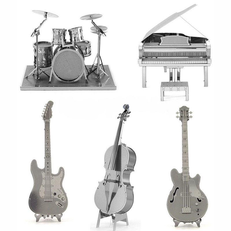 Musical 3D Metal Puzzles Piano Guitar Drum Model Bass Laser Cut Manual Silver Jigsaw Kits Instrument Adults Children Gift Toys