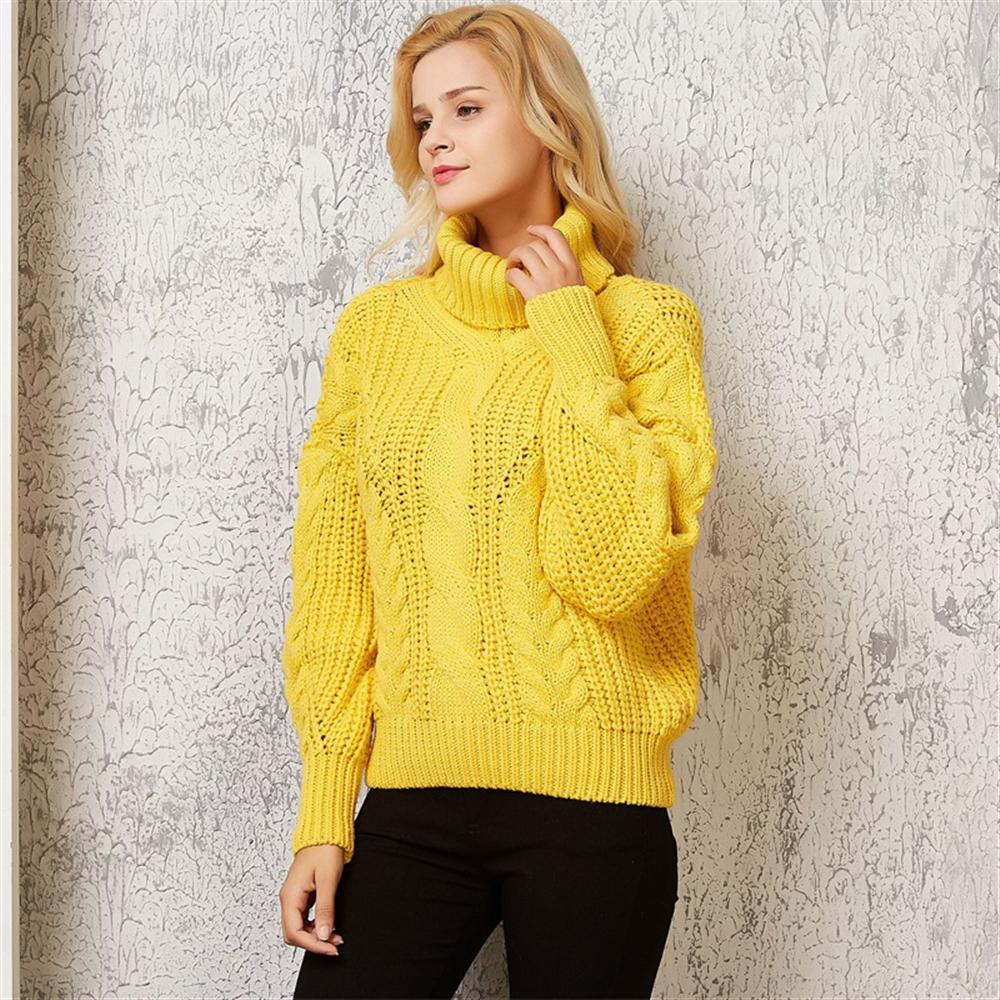 2019 Fashion Autumn Winter Casual Turtleneck Women Twisted