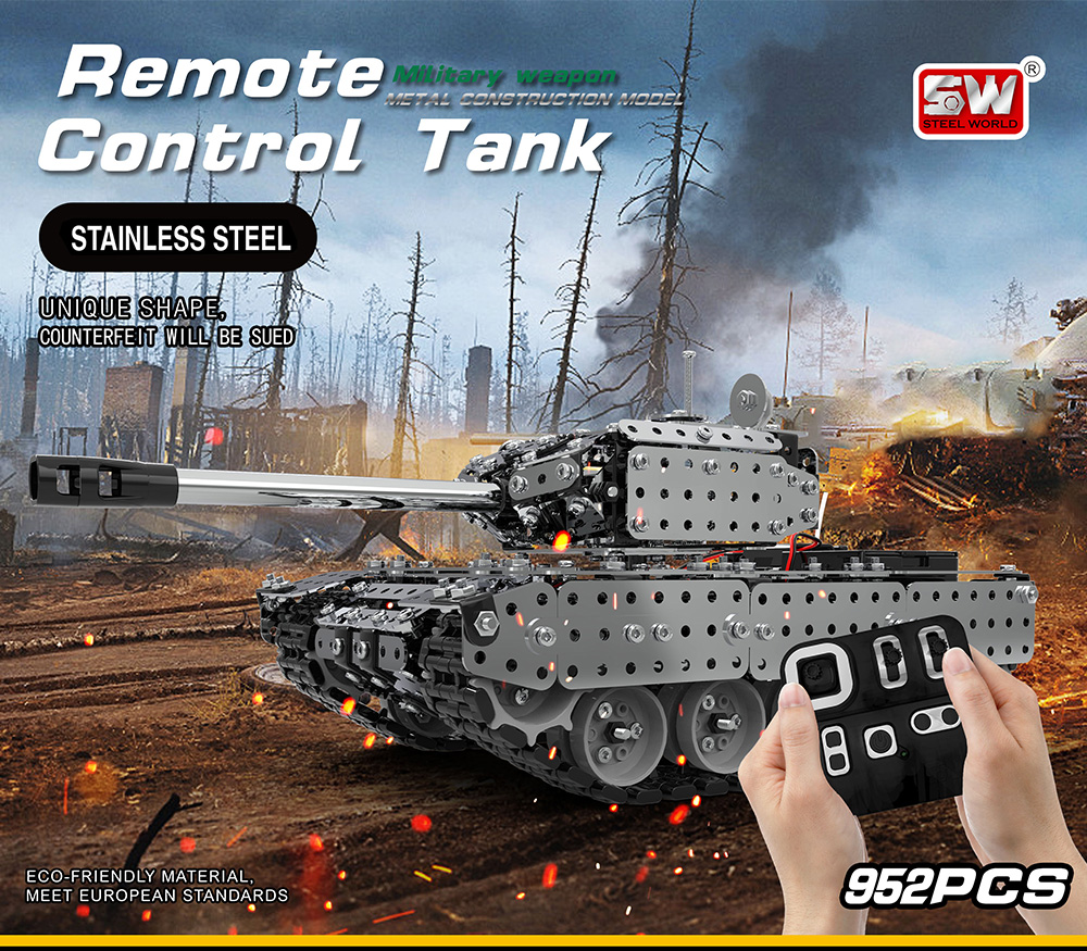 New Arrival Stainless Steel Assembly Remote Control Tank Kit RC Military Tank Set Bricks Compatible With Model Building BlocksNew Arrival Stainless Steel Assembly Remote Control Tank Kit RC Military Tank Set Bricks Compatible With Model Building Blocks