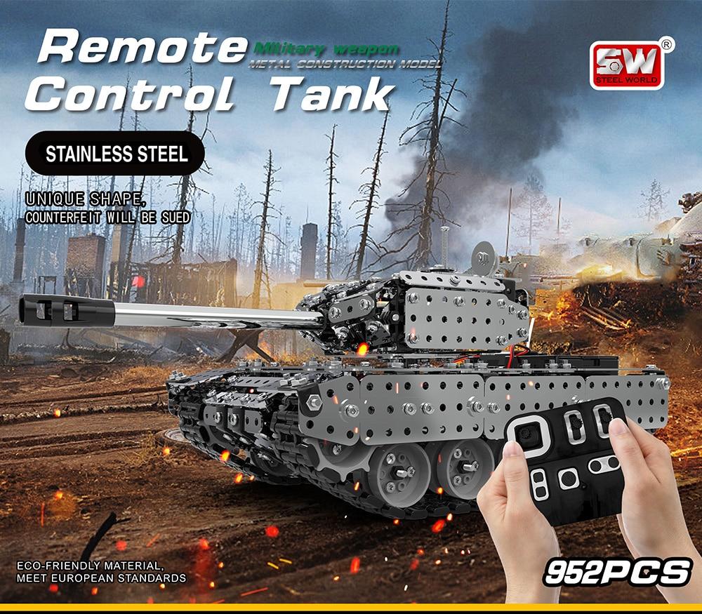 Nouveauté Kit de réservoir télécommandé en acier inoxydable Kit de réservoir militaire RC briques compatibles avec les blocs de construction modèles