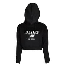 HARVARD Law just kidding Letters Printed Long sleeve Black White Fashion Pullover Women Short Crop Tops Hoodies Sweatshirt