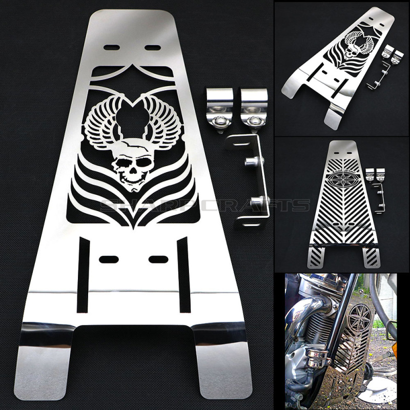 Motorcycle Skull Polished Stainless Steel Engine Radiator Cover Grill Guard Protector For YAMAHA XV1600 XV1700 WILD