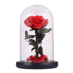 IALJ Топ стекло Крышка Свежий консервированная роза цветок колючая Роза Флорес для свадьбы брак вечерние партия украшения День святого