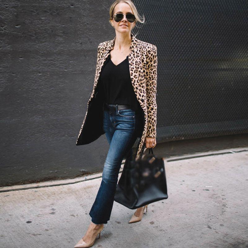 Women Autumn Long Sleeve Leopard Print Coat Ladies Sexy Winter Warm Wind Cardigan Long Coats jeans con blazer mujer
