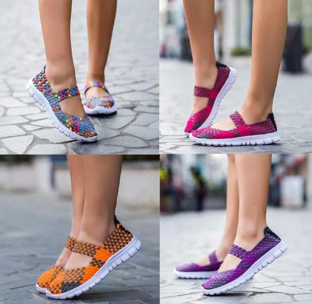 夏の女性のフラット弾性バンド女性靴慰安婦シューズメンズローファーサンダルテキスタイルカラー母の靴女性の靴メアリージェーン