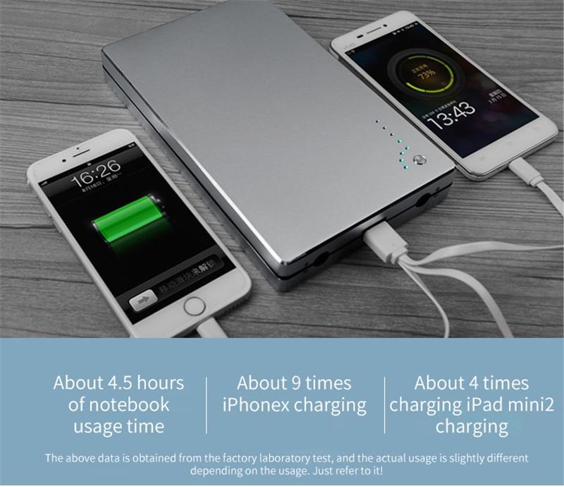 30000 mah 4A/DC 12 V 16 V 19 v chargeur de batterie externe de port USB de puissance portable pour ordinateurs portables, tablettes et iphone Samsung