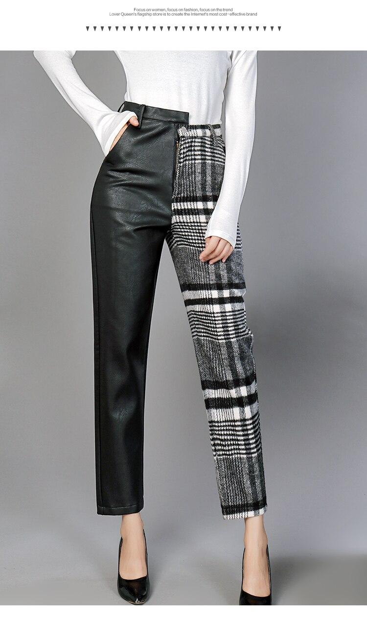 Cuero Cintura Salvaje Casual Nueva Celosía longitud Alta Moda Señoras De Pantalones Mujeres Harén Tobillo Las Black 2018 Invierno Superaen 7CEBv1