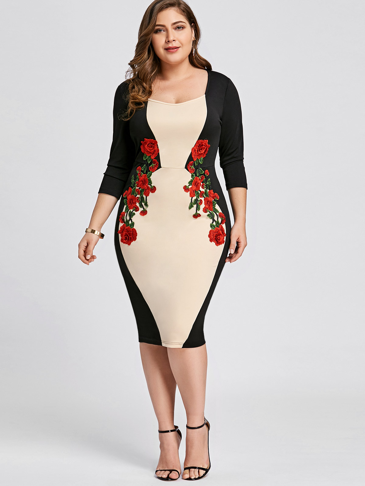 US $13.13 48% OFF|Wipalo Plus Size Embroidered Bodycon Dress Color Block  Elegant Embroidery Party Dress 3/4 Sleeve Knee Length Dress Big Size 5XL-in  ...