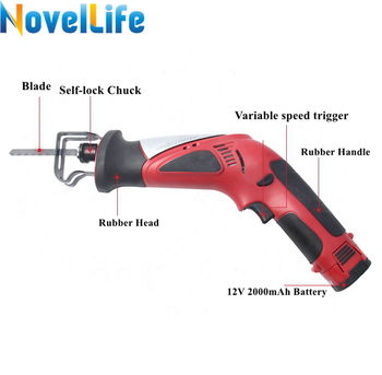 12V Portable Cordless Reciprocating Saw Electric Saber Saw Rechargeable Power Hacksaw with Battery Wood Metal Cutting Blade Tool