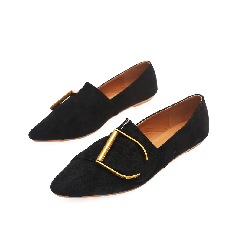 2019 Spring   Leather     Suede   Metal Decoration Women Flat Shoes Elegant Pointed Toe Flats Shoes Slip On Mules Ladies Shoes Size 43