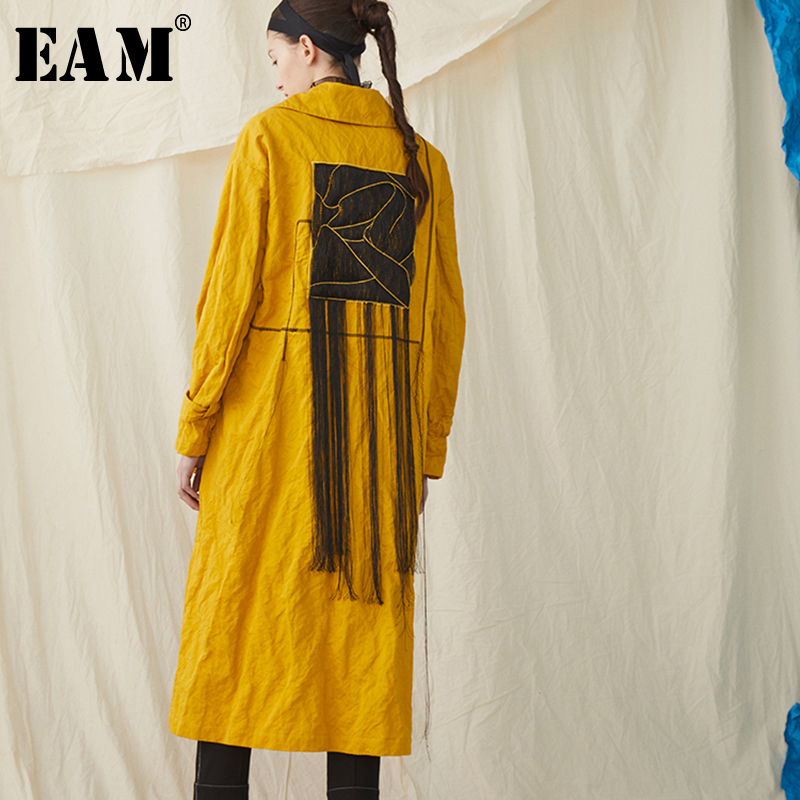 [EAM] 2019 New Spring Summer Lapel Long Sleeve Yellow Waist Bandage Big Size Long Windbreaker Women   Trench   Fashion Tide JR397