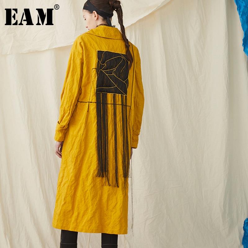 [EAM] 2019 New Spring Summer Lapel Long Sleeve Yellow Waist Bandage Big Size Long Windbreaker Women Trench Fashion Tide JR397