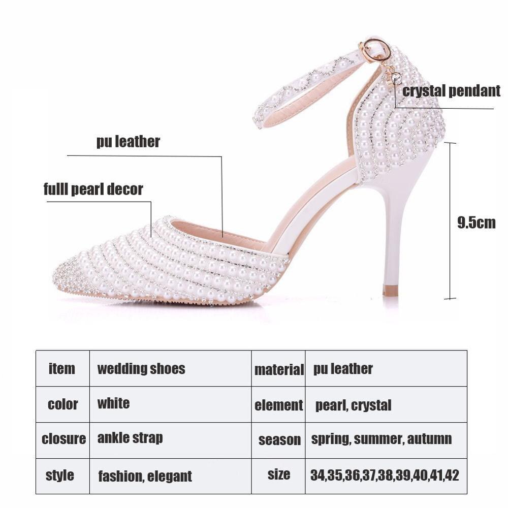 Модная обувь; коллекция 2019 года; женские туфли лодочки на высоком каблуке с жемчужинами; белые свадебные вечерние туфли на каблуке; женские туфли с ремешком на лодыжке и кристаллами - 2
