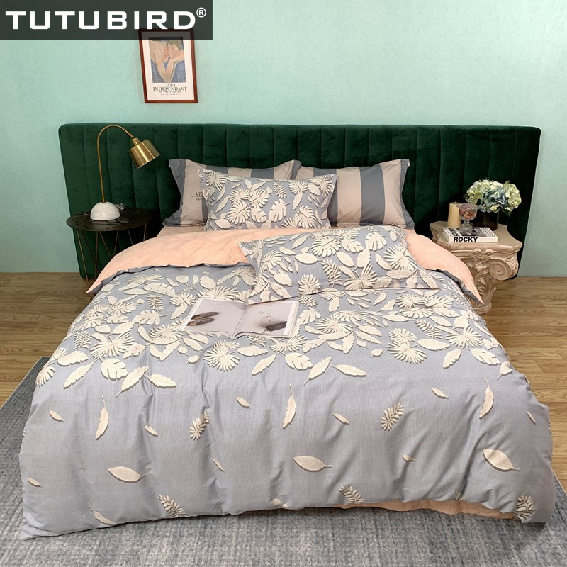 100% Cotton blue bedding set 3D leaf print bedspread with high quality duvet cover home textile bedclothes pillowcases 4pcs set100% Cotton blue bedding set 3D leaf print bedspread with high quality duvet cover home textile bedclothes pillowcases 4pcs set