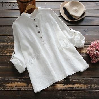 2019 primavera ZANZEA otoño solapa Blusa mujer sólido algodón Top mujer trabajo manga larga Blusa elegante botón abajo camisa de gran tamaño