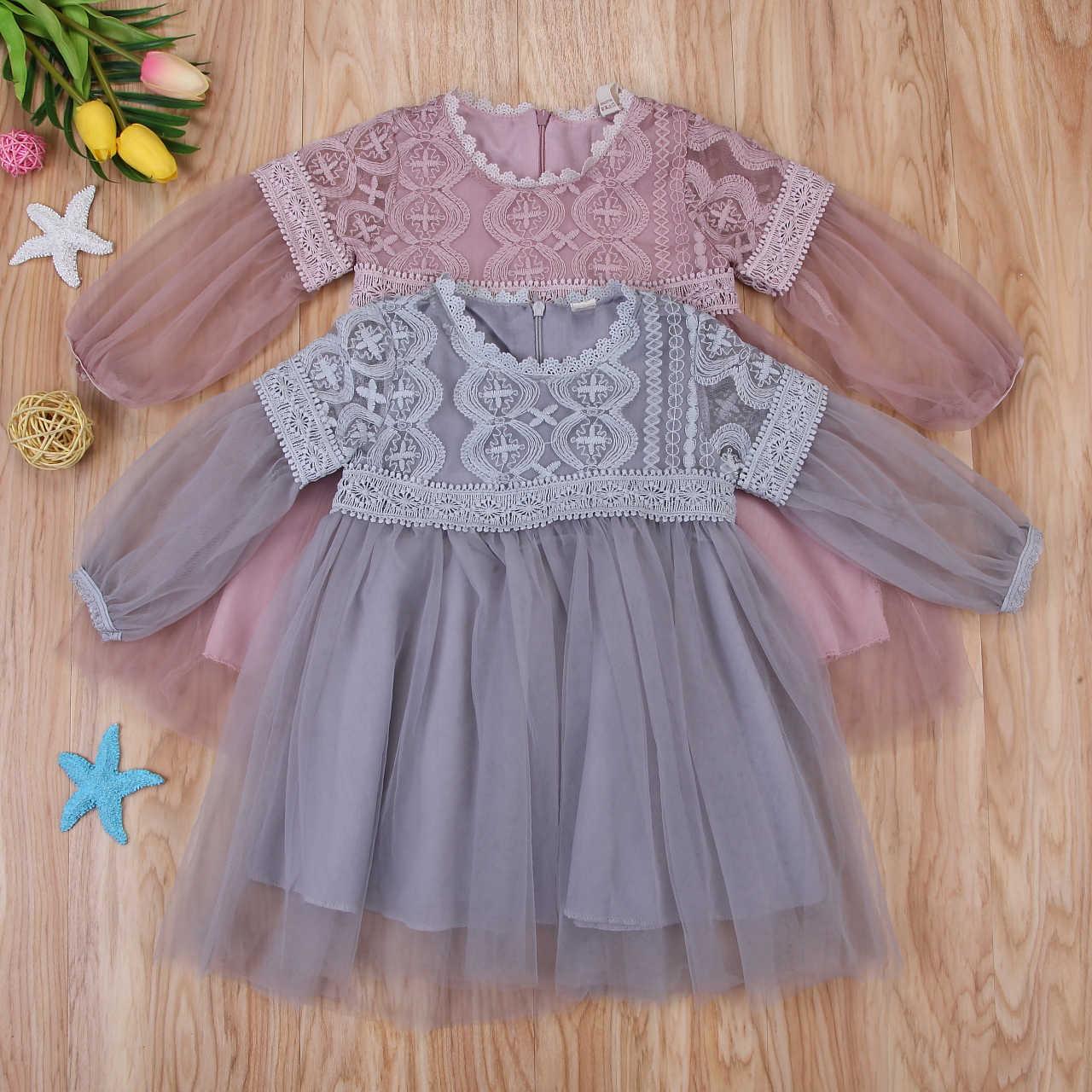יילוד קיד תינוקת שמלת תחרה פרח נסיכת ילדה שמלת מסיבת טבילת הטבלה חתונה רשמי שמלה לילדה Boho שמלה