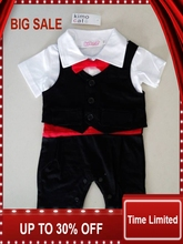 romper kids suit Baby boy newborn clothing rompers baby clothes gentleman style waistcoat