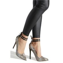 купить 2019 New Snake Prints Lace-Up Sexy Pumps Women Ankle Buckle Strap Design High Heels Shoes Woman Pointed Toe Stilettos Roman Shoe по цене 2088.12 рублей