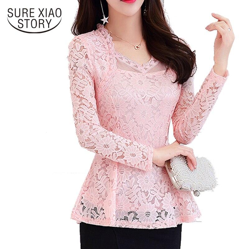 2018 Neue Ankunft Mode Blusen Hemd Langarm Frauen Spitze Bluse Plus Größe V-ausschnitt Solide Elegante Bluse Feminine 810i 30