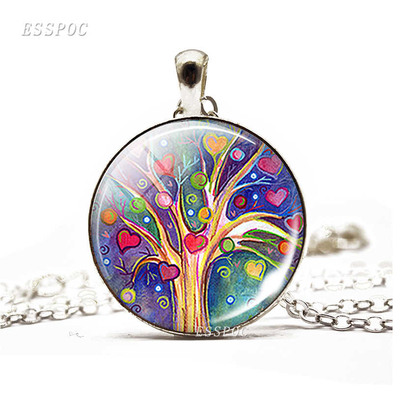 Tree of Life Simple Style Necklace Glass Dome Cabochon Jewelry Women DIY Paintings Life Tree Art Handmade Pendant Women Gifts