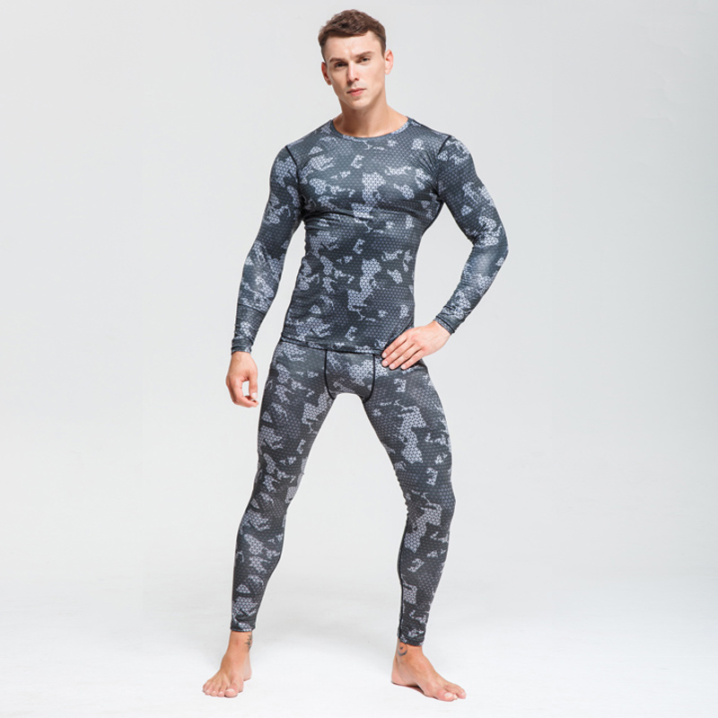 Image 3 - Men Compression sportswear Run Suits Clothes Sports Set Long t shirt And leggings Gym Fitness workout Tights clothing base layer-in Running Sets from Sports & Entertainment on AliExpress