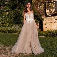 Eightale Boho Wedding Dress Spaghetti Strap Appliques A Line Bride Dress Beach Pink Tulle Wedding Gown Free Shipping gelinlik