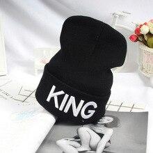 Beanies Cap KING QUEEN Letter Embroidery Warm Winter Hat Knitted Cap Hip Hop Men Women Lovers Street Dance Bonnet Skullies Black