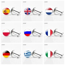UK Flag Cufflinks Europe Country National France Italy Spain Poland.Netherlands Russia Men Wedding