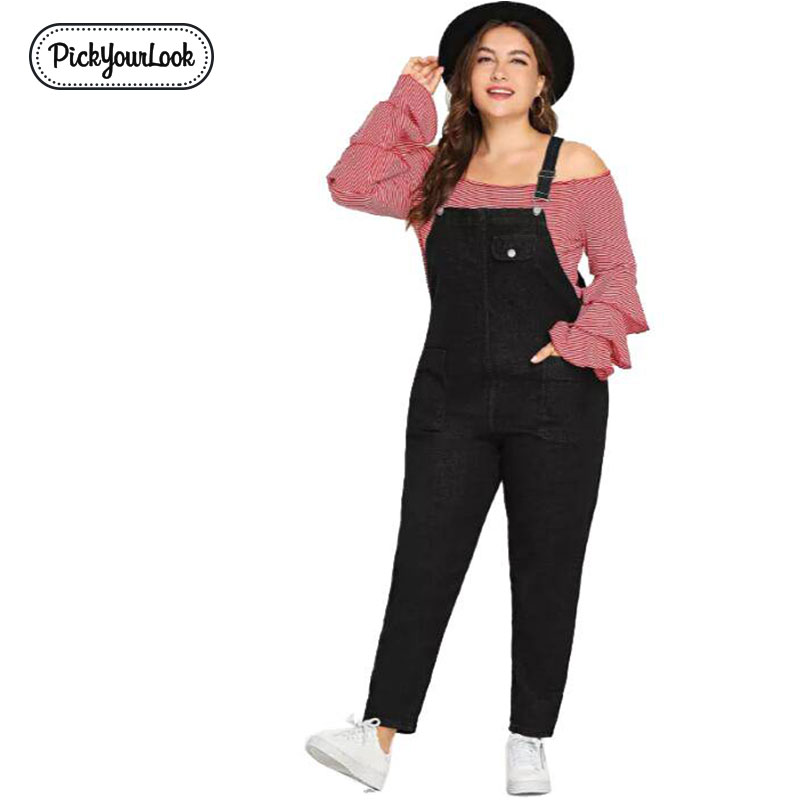 Pickyourlook Women Overalls Jumpsuit Plus Size Black Casual Lady Playsuits Large Women   Romper   Overalls Backless Female Bodysuit